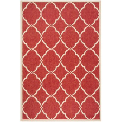 Huth Red/Cream Area Rug Rug Size: Rectangle 8 x 10