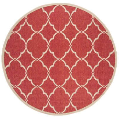 Huth Red/Cream Area Rug Rug Size: Round 67