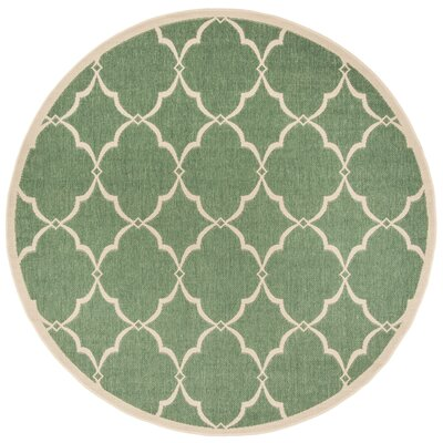 Huth Green/Cream Area Rug Rug Size: Round 67