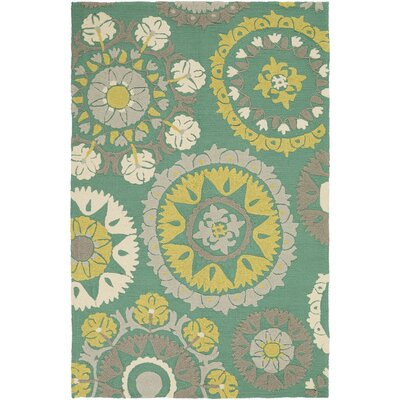 Cottingham Hand-Hooked Moss/Lime Indoor/Outdoor Area Rug Rug Size: 2' x 3'