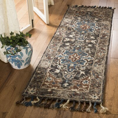Carman Hand-Tufted Wool Charcoal Area Rug Rug Size: Runner 23 x 7