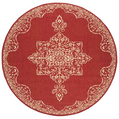 Karpinski Red/Cream Area Rug Rug Size: Round 67