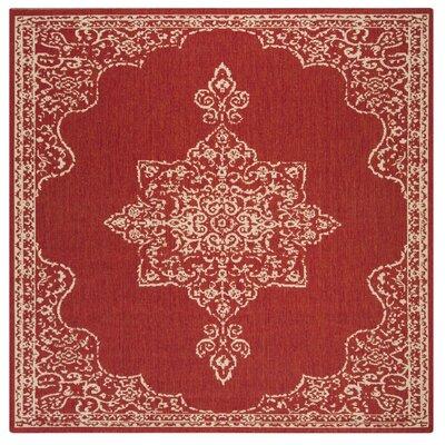Karpinski Red/Cream Area Rug Rug Size: Square 67
