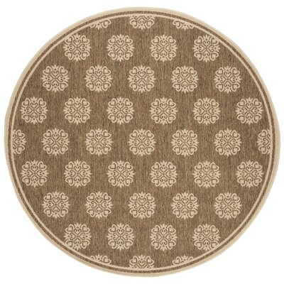 Karpinski Beige/Cream Area Rug Rug Size: Round 67