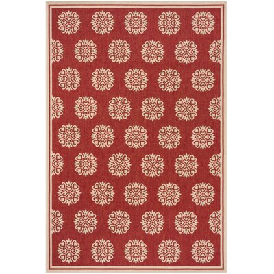 Karpinski Red/Cream Area Rug Rug Size: Rectangle 4 x 6