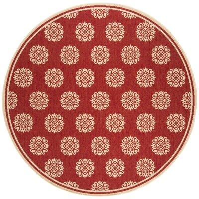 Karpinski Red/Cream Area Rug Rug Size: Round 67