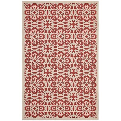 Herzberg Vintage Floral Red/Beige Indoor/Outdoor Area Rug Rug Size: Rectangle 5 x 8