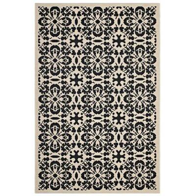 Herzberg Vintage Floral Black/Beige Indoor/Outdoor Area Rug Rug Size: Rectangle 8 x 10