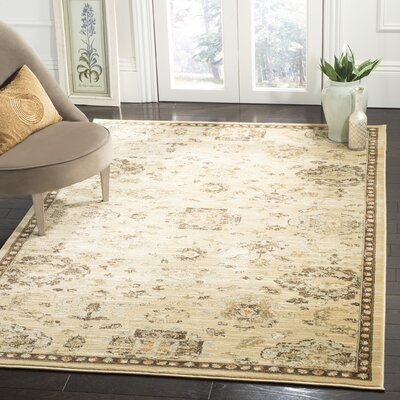 Lavelle Ivory / Brown Area Rug Rug Size: Rectangle 53 x 76