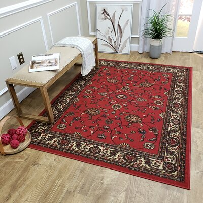 Kinnear Floral Red Area Rug Rug Size: Rectangle 82 x 910