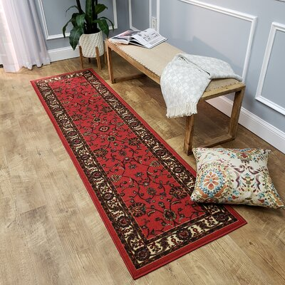 Kinnear Floral Red Area Rug Rug Size: Runner 110 x 610