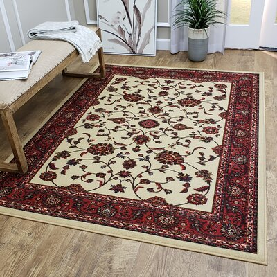 Kinnear Floral Red/White Area Rug Rug Size: Rectangle 82 x 910