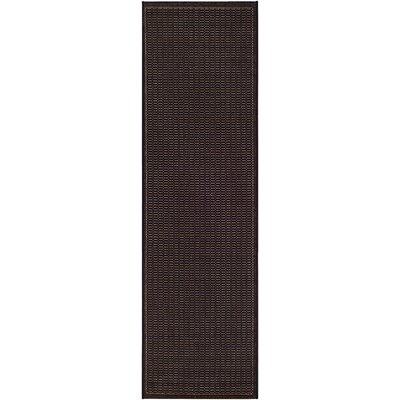 Ariadne Saddle Stitch Hand-Woven Black Cocoa Indoor/Outdoor Area Rug Rug Size: Runner 23 x 119
