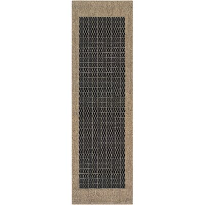 Ariadne Checkered Field Black/Cocoa Indoor/Outdoor Area Rug Rug Size: Runner 23 x 119