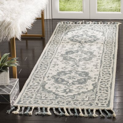 Carman Hand-Tufted Wool Gray Area Rug Rug Size: Runner 23 x 7