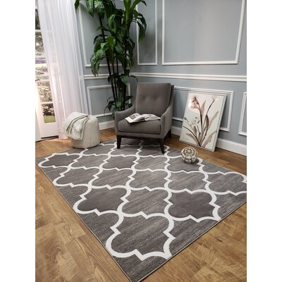 Densmore Hand-Carved Gray Area Rug Rug Size: 5 x 7