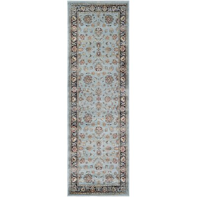 Connors Farahan Amulet Light Blue/Black Area Rug Rug Size: Runner 28 x 71