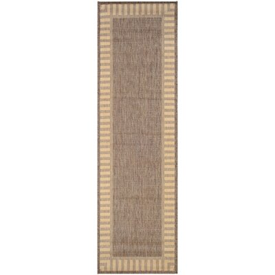 Westlund Wicker Stitch Cocoa/Natural Indoor/Outdoor Area Rug Rug Size: Runner 23 x 119
