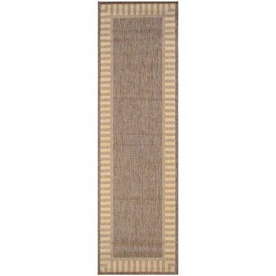 Westlund Wicker Stitch Cocoa/Natural Indoor/Outdoor Area Rug Rug Size: Runner 23 x 119