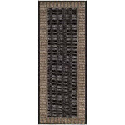 Westlund Black Wicker Stitch Indoor/Outdoor Rug Rug Size: Runner 23 x 119