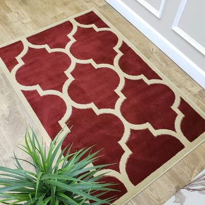 Kinner Moroccan Trellis Red Area Rug Rug Size: Rectangle 33 x 5