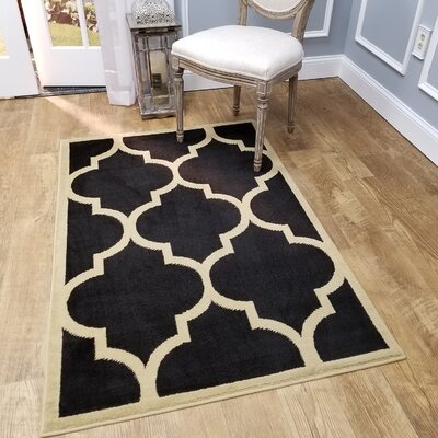 Kinner Moroccan Trellis Black Area Rug Rug Size: Rectangle 53 x 611