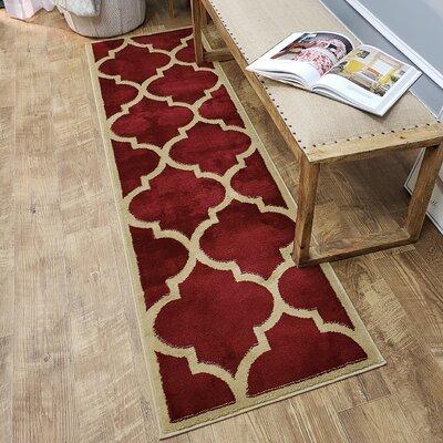 Kinner Moroccan Trellis Red Area Rug Rug Size: Runner 111 x 611