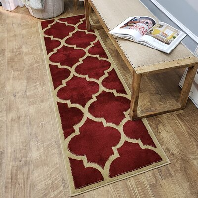 Kinner Moroccan Trellis Red Area Rug Rug Size: Runner 27 x 10