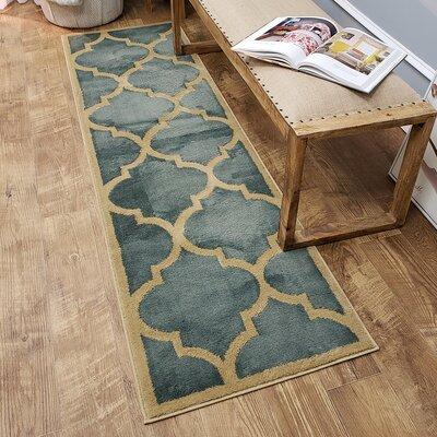 Kinner Moroccan Trellis Teal/Blue Area Rug Rug Size: Runner 27 x 10