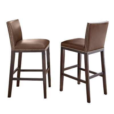 Tiffany 30 inch Bar Stool (Set of 2) Bar Stool Upholstery: Brown