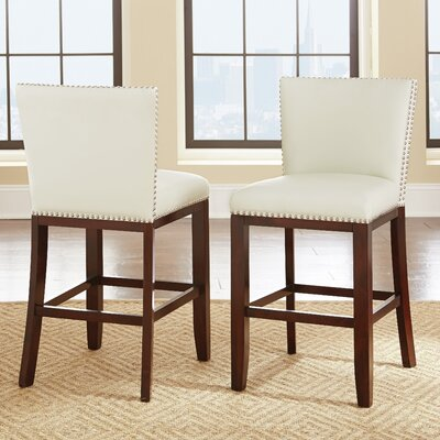 Hartland 24 Bar Stool (Set of 2) Upholstery: White