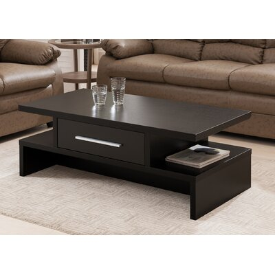 Rectangular 1 Drawer Coffee Table Finish: Black