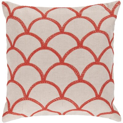 Bainbridge Oval Linen Throw Pillow Size: 22 H x 22 W x 4 D, Color: Poppy, Filler: Down