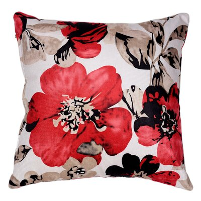 Sherwood Flower Velvet Throw Pillow Color: Red