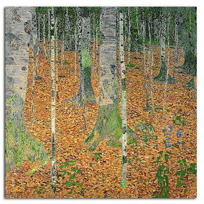 The Birch Wood by Gustav Klimt Print Painting on Rolled Canvas
