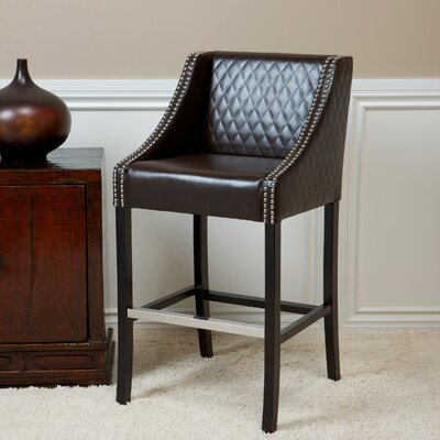 Silverton 28 Bar Stool Upholstery: Brown