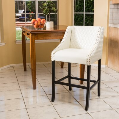 Silverton 28 inch Bar Stool Upholstery: Ivory