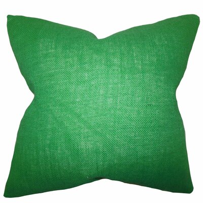 Portsmouth Solid Burlap Throw Pillow Color: Green, Size: 18 H x 18 W