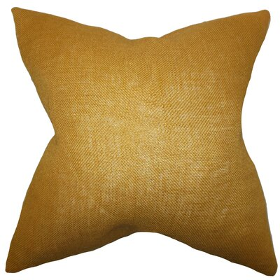 Portsmouth Solid Burlap Throw Pillow Color: Gold, Size: 18 H x 18 W