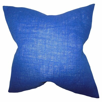 Portsmouth Solid Burlap Throw Pillow Color: Navy Blue, Size: 18 H x 18 W