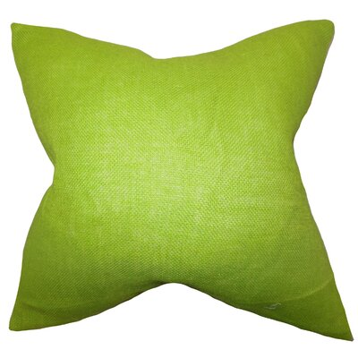Portsmouth Solid Burlap Throw Pillow Color: Lime Green, Size: 20 H x  20 W