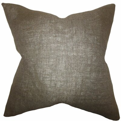 Portsmouth Solid Burlap Throw Pillow Color: Brown, Size: 18 H x 18 W