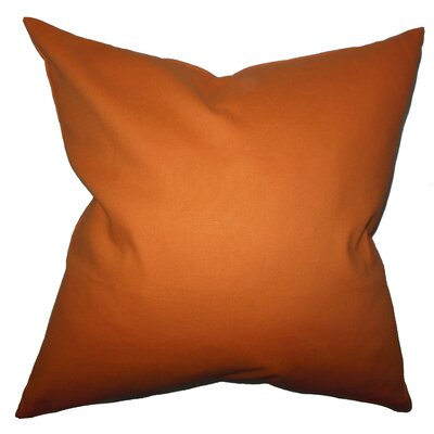 Portsmouth Solid Cotton Throw Pillow Color: Orange, Size: 24 x 24