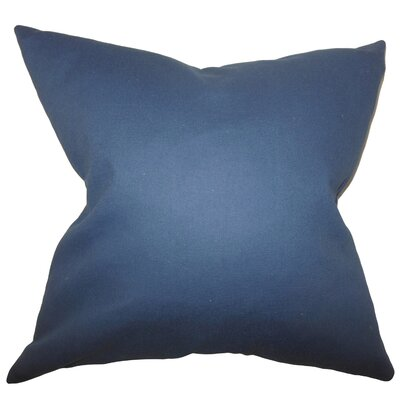 Portsmouth Solid Cotton Throw Pillow Color: Blue, Size: 24 x 24