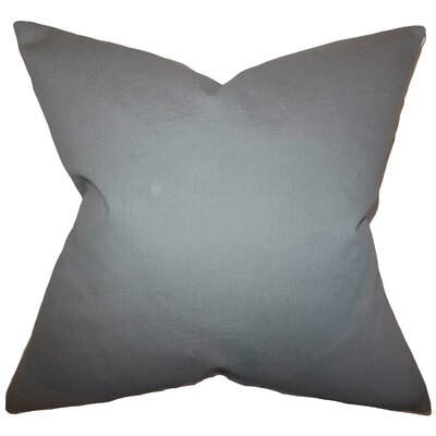 Portsmouth Solid Cotton Throw Pillow Color: Grey, Size: 18x18