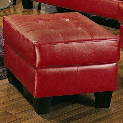 Kedzie Leather Ottoman Upholstery: Red