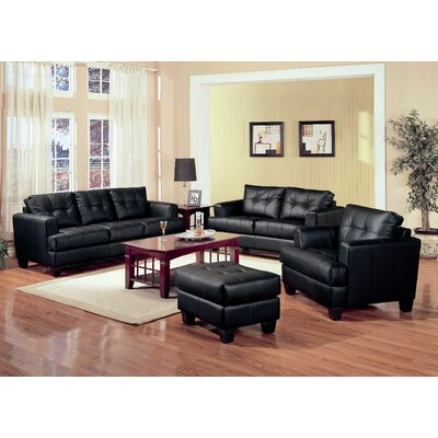 Achilles Leather Sofa Upholstery: Black