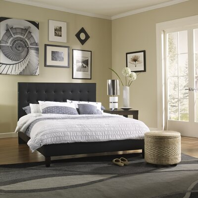 Cortez Upholstered Platform Bed Size: Twin, Color: Black