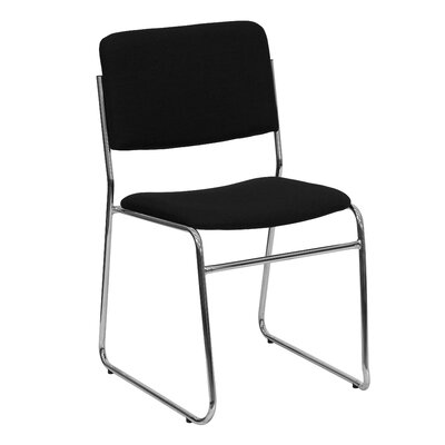 Jackston Metal Stacking Guest Chair (Set of 2) Upholstery / Frame Finish: Black Fabric / Chrome