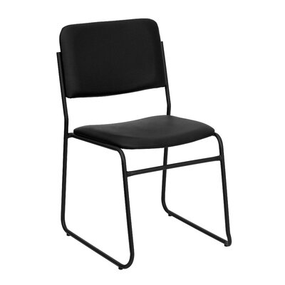 Twining High Density Stacking Guest Chair (Set of 2) Upholstery / Frame Finish: Black Vinyl / Black